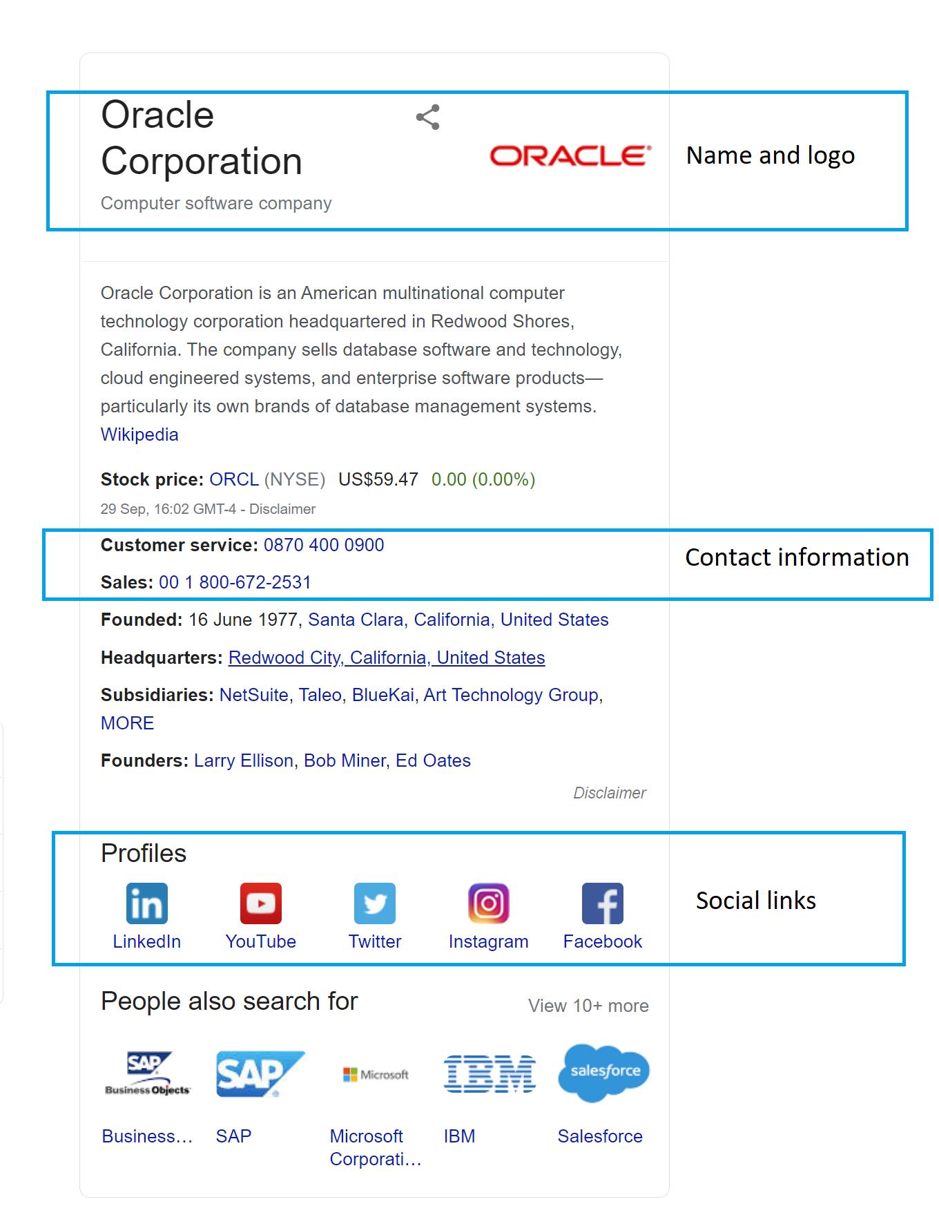 Organisation schema markup example - Oracle Corporation